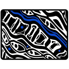 Deep Blue, Black And White Abstract Art Double Sided Fleece Blanket (large)  by Valentinaart