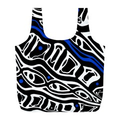 Deep Blue, Black And White Abstract Art Full Print Recycle Bags (l)  by Valentinaart