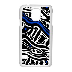 Deep Blue, Black And White Abstract Art Samsung Galaxy S5 Case (white) by Valentinaart