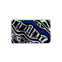 Deep Blue, Black And White Abstract Art Cosmetic Bag (xs) by Valentinaart