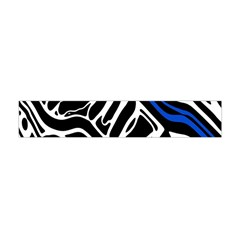 Deep Blue, Black And White Abstract Art Flano Scarf (mini) by Valentinaart