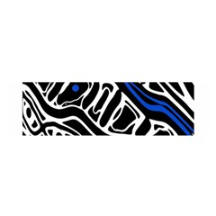 Deep Blue, Black And White Abstract Art Satin Scarf (oblong) by Valentinaart