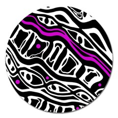 Purple, Black And White Abstract Art Magnet 5  (round) by Valentinaart