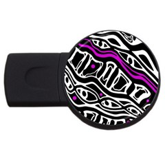 Purple, Black And White Abstract Art Usb Flash Drive Round (4 Gb)  by Valentinaart