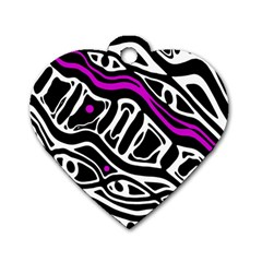 Purple, Black And White Abstract Art Dog Tag Heart (two Sides) by Valentinaart
