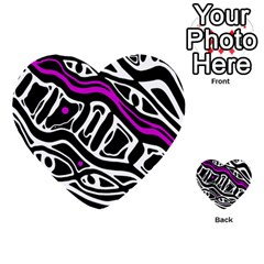 Purple, Black And White Abstract Art Multi Purpose Cards (heart)  by Valentinaart