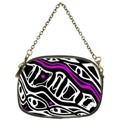 Purple, Black And White Abstract Art Chain Purses (one Side)  by Valentinaart