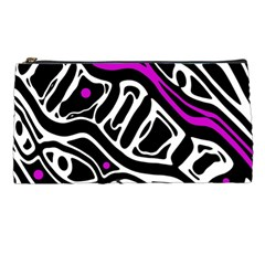 Purple, Black And White Abstract Art Pencil Cases by Valentinaart