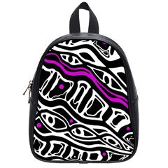 Purple, Black And White Abstract Art School Bags (small)  by Valentinaart