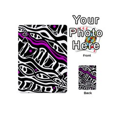 Purple, Black And White Abstract Art Playing Cards 54 (mini)  by Valentinaart