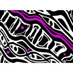 Purple, black and white abstract art Peace Sign 3D Greeting Card (7x5) Front