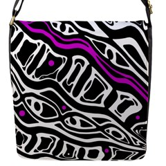 Purple, Black And White Abstract Art Flap Messenger Bag (s) by Valentinaart