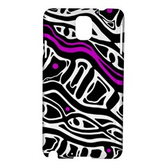 Purple, Black And White Abstract Art Samsung Galaxy Note 3 N9005 Hardshell Case by Valentinaart