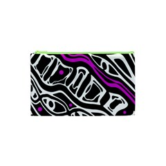 Purple, Black And White Abstract Art Cosmetic Bag (xs) by Valentinaart