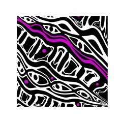 Purple, Black And White Abstract Art Small Satin Scarf (square) by Valentinaart