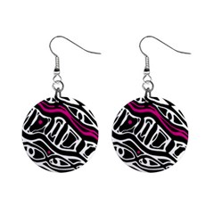 Magenta, Black And White Abstract Art Mini Button Earrings by Valentinaart