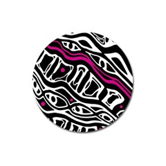 Magenta, Black And White Abstract Art Magnet 3  (round) by Valentinaart