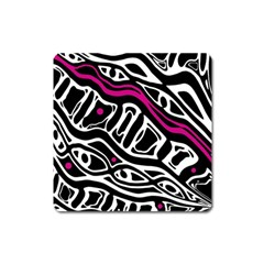 Magenta, Black And White Abstract Art Square Magnet by Valentinaart