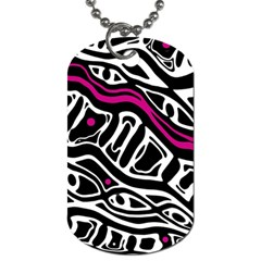 Magenta, Black And White Abstract Art Dog Tag (one Side) by Valentinaart