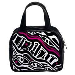 Magenta, Black And White Abstract Art Classic Handbags (2 Sides) by Valentinaart