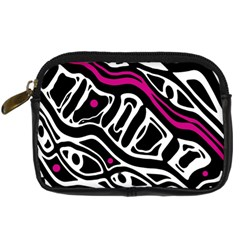 Magenta, Black And White Abstract Art Digital Camera Cases by Valentinaart