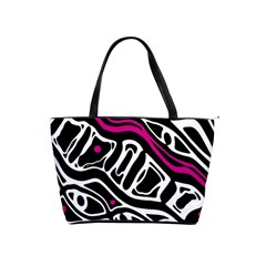 Magenta, Black And White Abstract Art Shoulder Handbags by Valentinaart