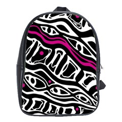 Magenta, Black And White Abstract Art School Bags(large)  by Valentinaart