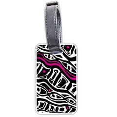 Magenta, Black And White Abstract Art Luggage Tags (one Side)  by Valentinaart