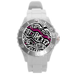 Magenta, Black And White Abstract Art Round Plastic Sport Watch (l) by Valentinaart