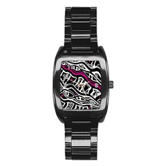 Magenta, Black And White Abstract Art Stainless Steel Barrel Watch by Valentinaart