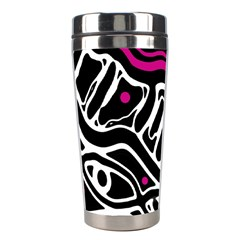 Magenta, Black And White Abstract Art Stainless Steel Travel Tumblers by Valentinaart