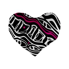 Magenta, Black And White Abstract Art Standard 16  Premium Flano Heart Shape Cushions by Valentinaart