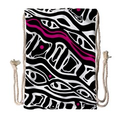 Magenta, Black And White Abstract Art Drawstring Bag (large) by Valentinaart