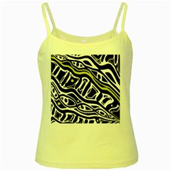 Yellow, Black And White Abstract Art Yellow Spaghetti Tank by Valentinaart