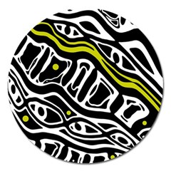 Yellow, Black And White Abstract Art Magnet 5  (round) by Valentinaart