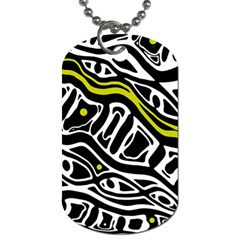 Yellow, Black And White Abstract Art Dog Tag (two Sides) by Valentinaart