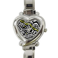Yellow, Black And White Abstract Art Heart Italian Charm Watch by Valentinaart