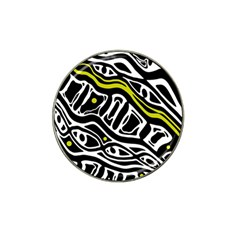 Yellow, Black And White Abstract Art Hat Clip Ball Marker (4 Pack) by Valentinaart