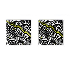 Yellow, Black And White Abstract Art Cufflinks (square) by Valentinaart
