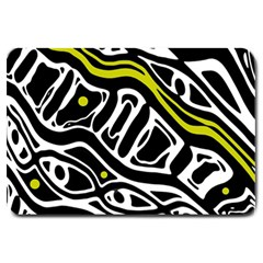 Yellow, Black And White Abstract Art Large Doormat  by Valentinaart