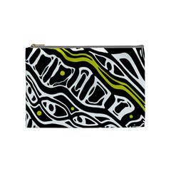 Yellow, Black And White Abstract Art Cosmetic Bag (medium)  by Valentinaart