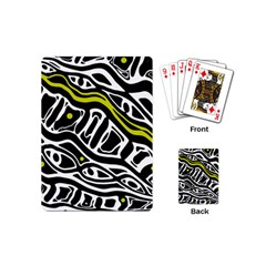 Yellow, Black And White Abstract Art Playing Cards (mini)  by Valentinaart