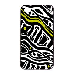 Yellow, Black And White Abstract Art Apple Iphone 4/4s Seamless Case (black) by Valentinaart