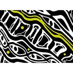 Yellow, black and white abstract art TAKE CARE 3D Greeting Card (7x5) Back
