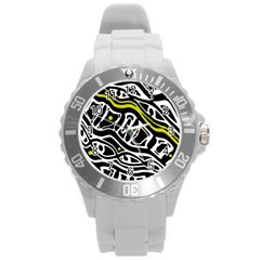 Yellow, Black And White Abstract Art Round Plastic Sport Watch (l) by Valentinaart