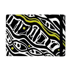 Yellow, Black And White Abstract Art Apple Ipad Mini Flip Case by Valentinaart
