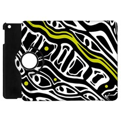 Yellow, Black And White Abstract Art Apple Ipad Mini Flip 360 Case by Valentinaart