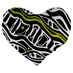 Yellow, Black And White Abstract Art Large 19  Premium Heart Shape Cushions by Valentinaart