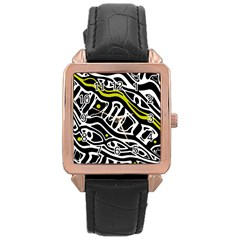 Yellow, Black And White Abstract Art Rose Gold Leather Watch  by Valentinaart