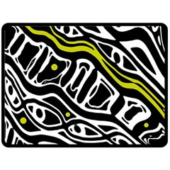 Yellow, Black And White Abstract Art Double Sided Fleece Blanket (large)  by Valentinaart